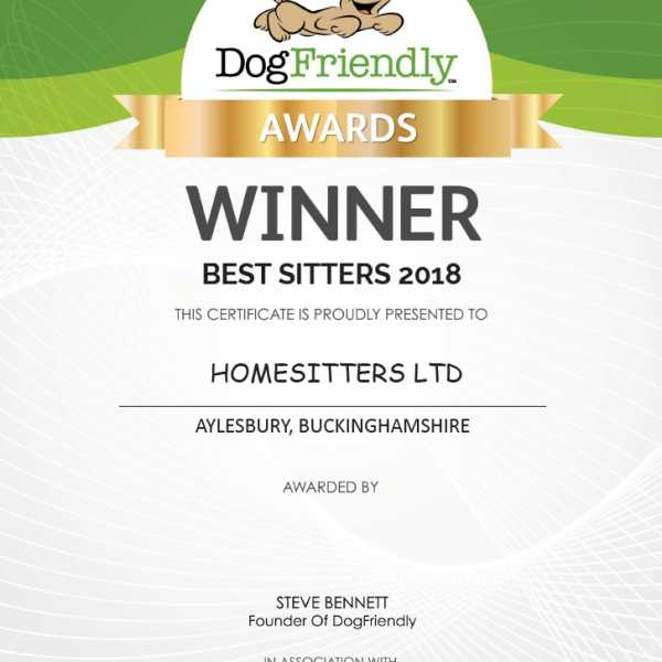Homesitters Ltd Wins the 'Best DogFriendly Sitters Award' 2018