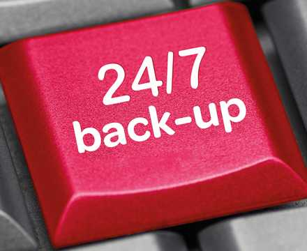 Computer keyboard key with the words 24-7 back-up